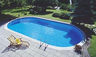 Marken stahlwand schwimmbecken aus edelstahl for Ovaler pool garten